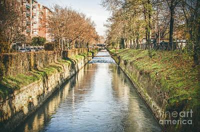 Leinwand Photograph - suburb river canal canvas Bologna Reno river print italy by Luca Lorenzelli