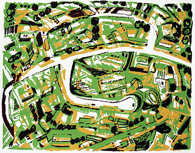 Above Mixed Media - Suburb With Roads by Toni Silber-Delerive