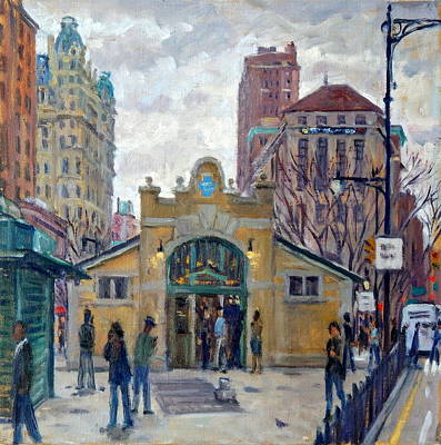 Painting - Subway At 72nd Street Nyc, Rain by Thor Wickstrom