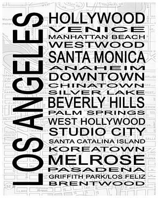 Subway Los Angeles 1 White Art Print