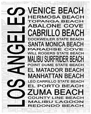 Point Dume Wall Art - Digital Art - Subway Los Angeles 3 White by Melissa Smith