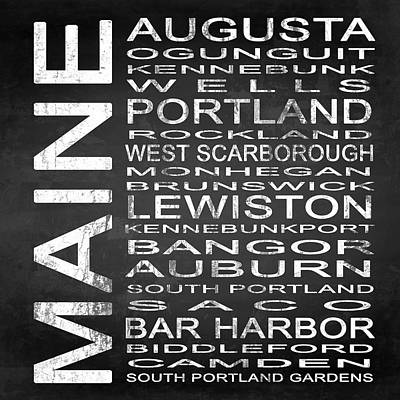 Typography Digital Art - Subway Maine State Square by Melissa Smith