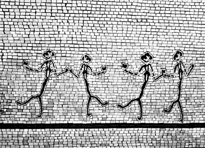 Photograph - Subway Mosaic Egyptian Chorus Line In B W by Rob Hans
