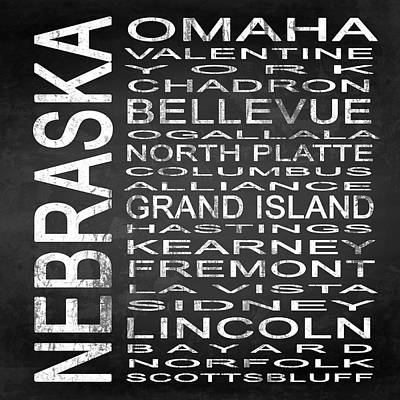 Subway Nebraska State Square Print by Melissa Smith