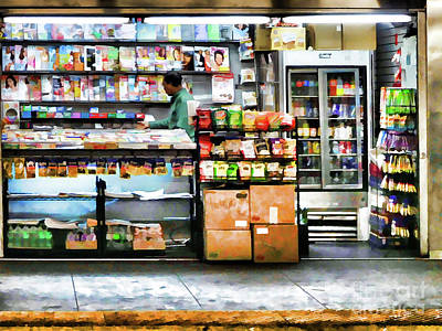 Painting - Subway News Stand Vendor by Lanjee Chee