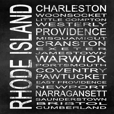Subway Rhode Island State Square Art Print by Melissa Smith