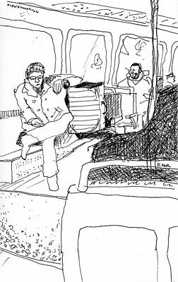 London Tube Drawing - Subway Ride by Kristy Lankford