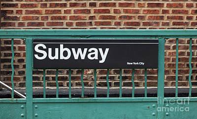 Subway Sign In New York City Print by Antonio Gravante