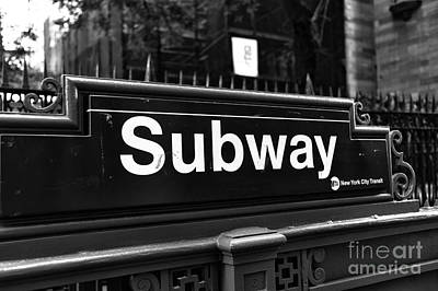 Stop Sign Photograph - Subway Stop Mono by John Rizzuto