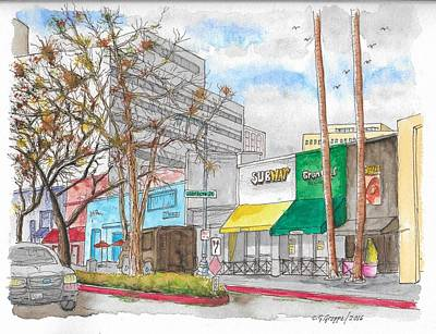 Subway, Wilshire Blvd. And Roxbury Dr., Beverly Hills, California Art Print by Carlos G Groppa