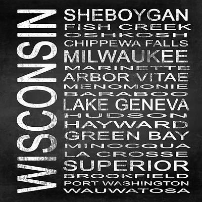Subway Wisconsin State 2 Square Art Print