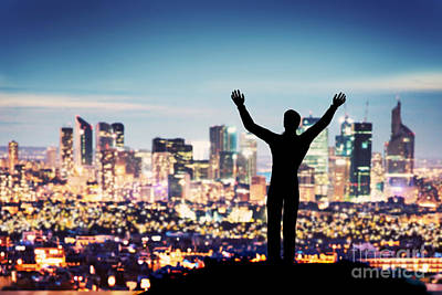 One Photograph - Successful Businessman With Hands Up Facing City Business Downtown by Michal Bednarek