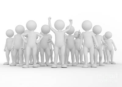 Champion Photograph - Successful Team Concept. Toon Men People Together by Michal Bednarek