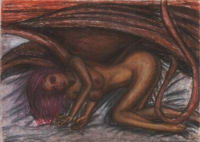 Succubus Drawing - Succubus Lying On A Bed by Joao Burlamaqui