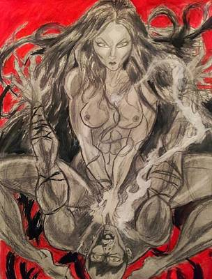 Succubus Drawing - Succubus by Mark Bradley