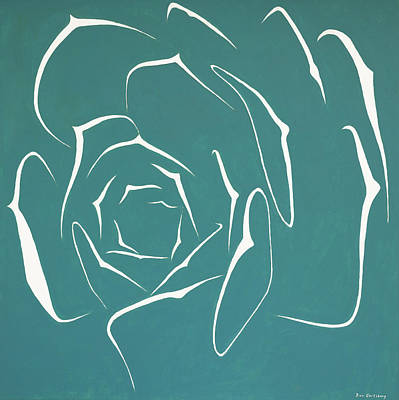 Painting - Succulent In Turquoise by Ben Gertsberg