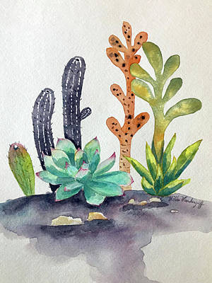 Painting - Succulents Desert by Hilda Vandergriff