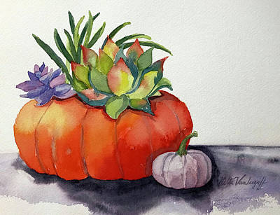 Painting - Succulents In Pumpkin by Hilda Vandergriff
