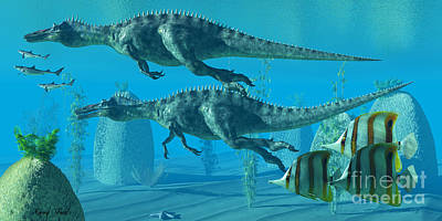 Suchomimus Dive Art Print by Corey Ford