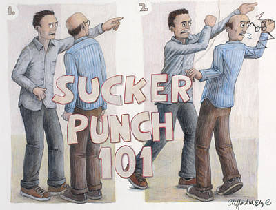 Jab Drawing - Sucker Punch 101 by Clifford Elgin