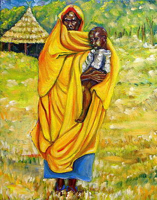 Sudanese Mother And Child Art Print by George Chacon