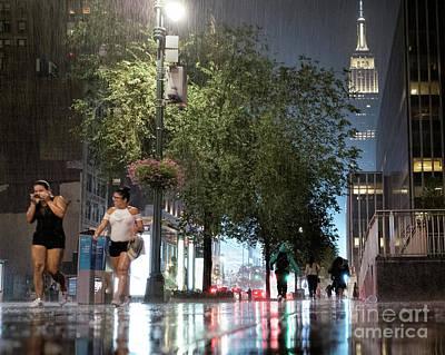 Photograph - Sudden Downpour, New York City -130522 by John Bald
