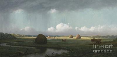 Wetlands Painting - Sudden Shower, Newbury Marshes by Martin Johnson Heade