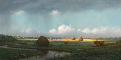 Bales Painting - Sudden Shower - Newbury Marshes by Mountain Dreams