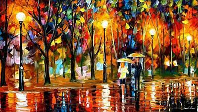 Sudden Sparks - Palette Knife Oil Painting On Canvas By Leonid Afremov Art Print by Leonid Afremov