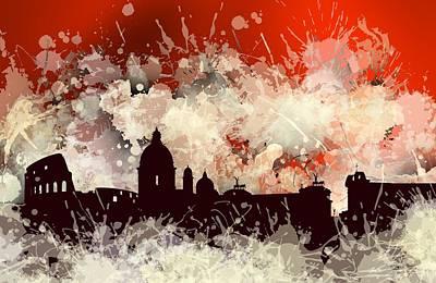 Skyline Digital Art - Smudge Rome Skyline.3 by Alberto RuiZ