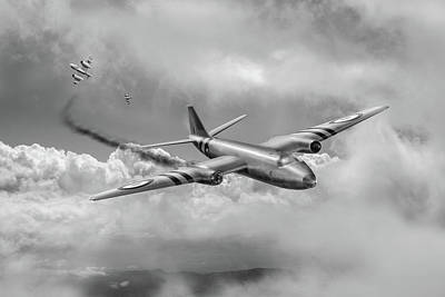 Photograph - Suez Canberra Pr7 Shoot Down Bw Version by Gary Eason
