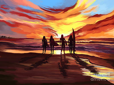 Painting - Suffer Girls At Sunset by Tim Gilliland