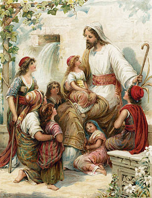 New Testament Drawing - Suffer The Little Children To Come To Me by Robert Ambrose Dudley