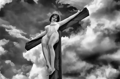 Crucifixion Wall Art - Digital Art - Suffering In The Sky by Ramon Martinez