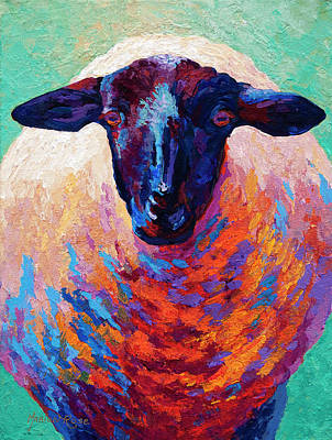 Farm Animal Painting - Suffolk Ewe by Marion Rose