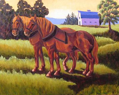 Painting - Suffolk Punch Day Is Done by Ruth Soller