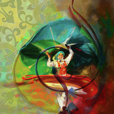 Painting - Sufi Whirl 11 Painting 725 4 by Mawra Tahreem