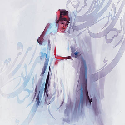 Sufi Dancer Painting - Sufi Whirl 8 Painting 722 2 by Mawra Tahreem