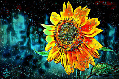 Mixed Media - Sunflower Rain by Pennie McCracken
