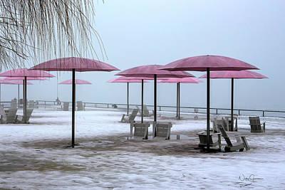 Digital Art - Sugar Beach Pink Parasols by Nicky Jameson