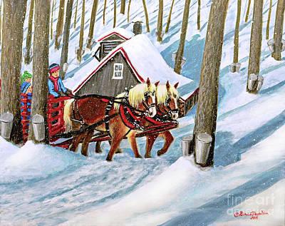 Painting - Sugar Bush Sleigh Ride Randonne En Traneau Sucre by Patricia L Davidson
