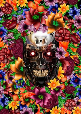 Haunted Mansion Digital Art - Sugar Chrome Skull  by Three Second