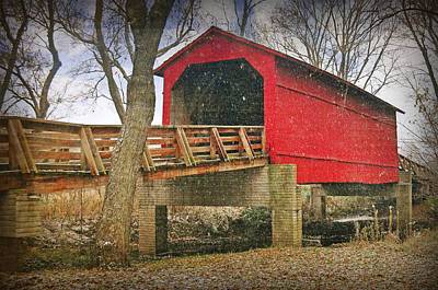 Popstar And Musician Paintings - Sugar Creek Covered Bridge 3 by Marty Koch