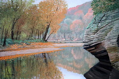 Indiana Rivers Painting - Sugar Creek by Rudolph J Miller