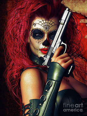Sugar Doll Long Night Of The Dead Art Print by Shanina Conway