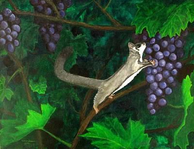 Marsupial Painting - Sugar Glider In Grape Vines by Trinket's  Legacy