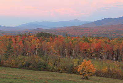 Photograph - Sugar Hill Fall Foliage And Presidential Range Sunset by John Burk