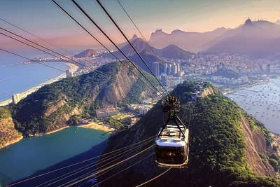 Praia Photograph - Sugar Loaf Cable Car And Botafogo Bay by Antonello