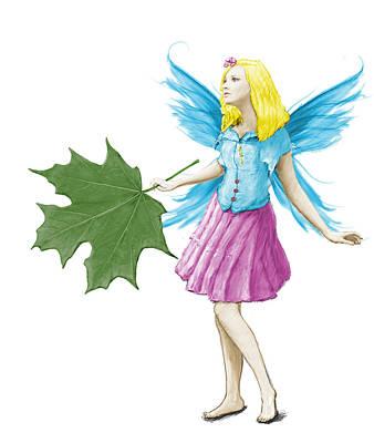 Digital Art - Sugar Maple Tree Fairy Holding A Leaf by Yuichi Tanabe