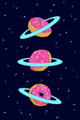 Donut Digital Art - Sugar Rings Of Saturn by Evgenia Chuvardina